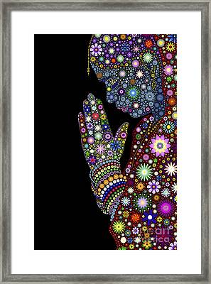Flower Prayer Girl Framed Print by Tim Gainey