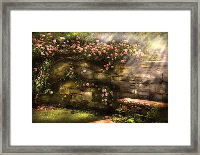Flower - Rose - In The Rose Garden  Framed Print by Mike Savad