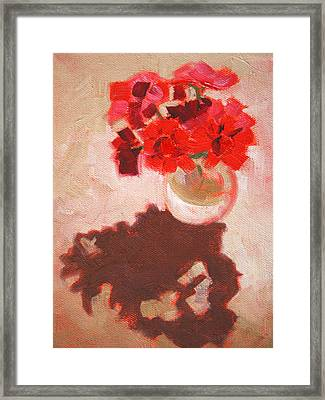 Flower Shadows Still Life Framed Print by Nancy Merkle
