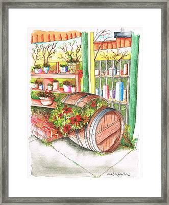 Barrel With Flowers In A Flower Shop In West Hollywood - California Framed Print by Carlos G Groppa