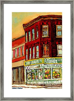 Flower Shop Painting Boutique Coin Vert Fleuriste Montreal Central 3403 Rue Notre-dame Scenes  Framed Print by Carole Spandau
