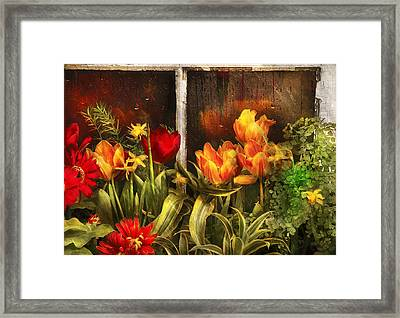 Flower - Tulip - Tulips In A Window Framed Print by Mike Savad
