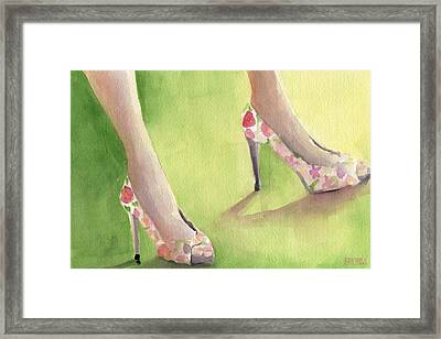 Flowered Shoes Fashion Illustration Art Print Framed Print by Beverly Brown
