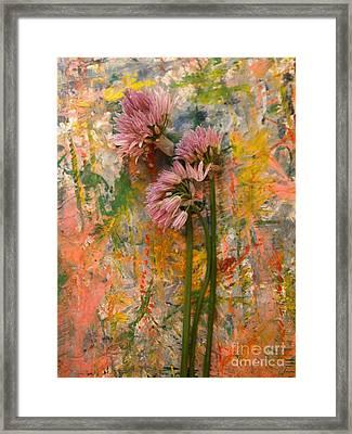 Flowering Garlic Framed Print by Nancy Kane Chapman