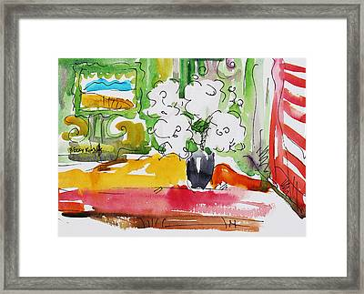 Flowers And Green Wall Framed Print by Becky Kim