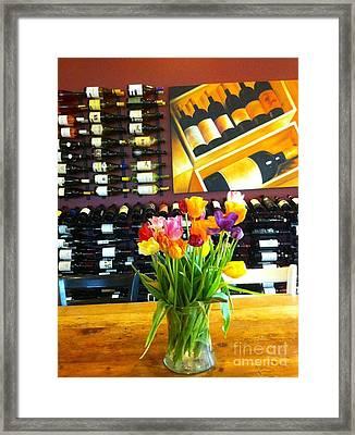 Flowers And Wine Framed Print by Susan Garren