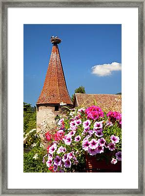 Flowers Bloom Below An Ancient Turret Framed Print by Brian Jannsen