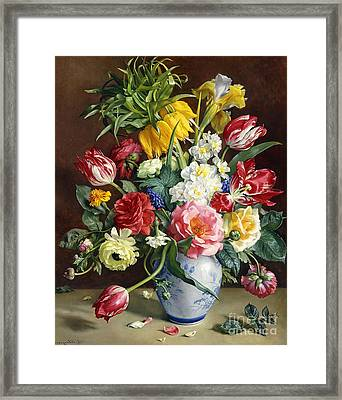 Flowers In A Blue And White Vase Framed Print by R Klausner