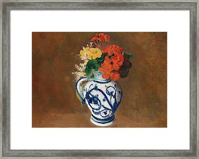 Flowers In A Blue Vase Framed Print by Odilon Redon