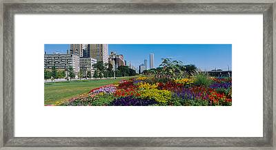 Flowers In A Garden, Welcome Garden Framed Print by Panoramic Images