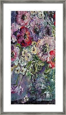 Flowers In An Antique Blue Vase Framed Print by Eloise Schneider
