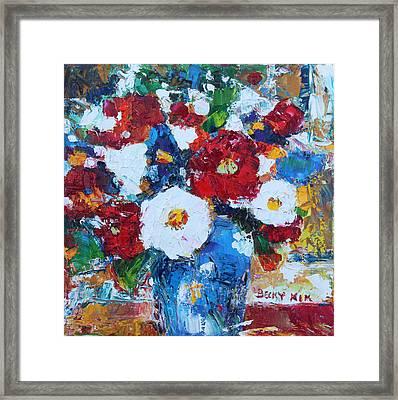 Flowers In Blue Vase 2 Framed Print by Becky Kim