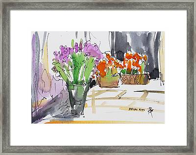 Flowers In Pots Framed Print by Becky Kim