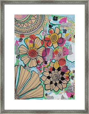 Flowers In The Sky Framed Print by Rosalina Bojadschijew