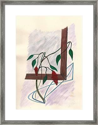 Flowers In The Window Framed Print by Robert Meszaros