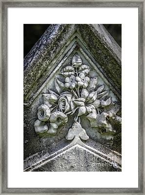 Flowers On A Grave Stone Framed Print by Edward Fielding