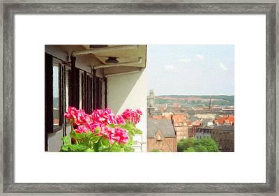 Flowers On The Balcony Framed Print by Jeff Kolker