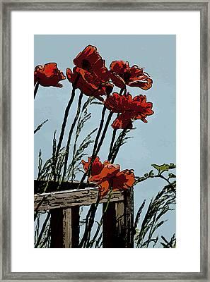 Flowers On The Deck Corner Framed Print by David Kehrli