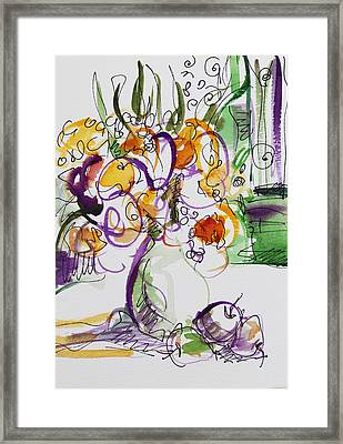 Flowers With Purple Hint Framed Print by Becky Kim