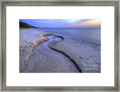 Flowing Into Lake Michigan Framed Print by Twenty Two North Photography