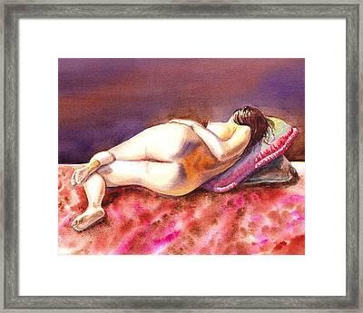 Flowing Lines Reclining Nude Framed Print by Irina Sztukowski