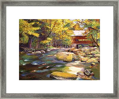 Flowing Water At Red Bridge Framed Print by David Lloyd Glover