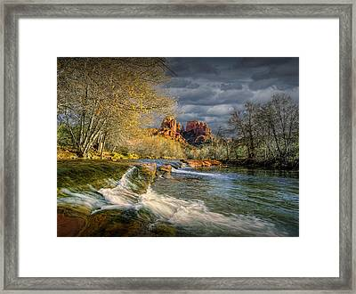 Flowing Water By Cathedral Rock Framed Print by Randall Nyhof