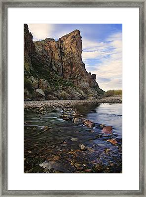 Flowing Waters Of The Salt River Framed Print by Dave Dilli