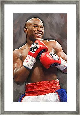 Floyd Mayweather Artwork Framed Print by Sheraz A
