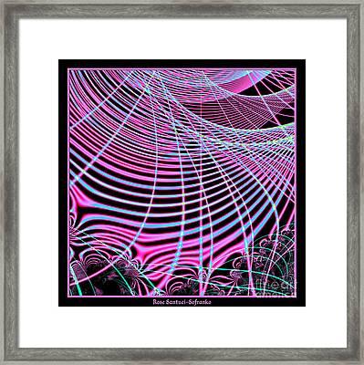 Fluorescent Neon Web Fractal 45 Framed Print by Rose Santuci-Sofranko