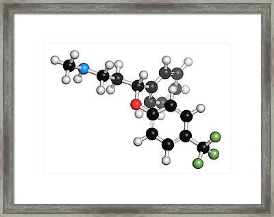 Fluoxetine Antidepressant Drug Molecule Framed Print by Molekuul