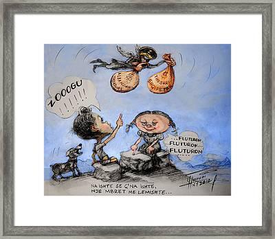 Fluturon...fluturon...fluturon..zogu Framed Print by Ylli Haruni