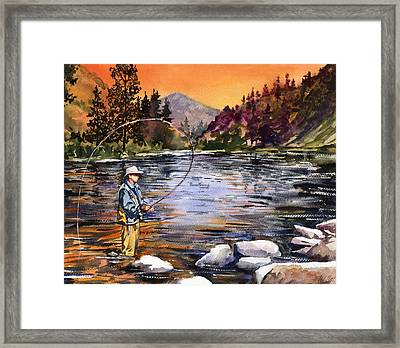 Fly Fishing At Sunset Mountain Lake Framed Print by Beth Kantor