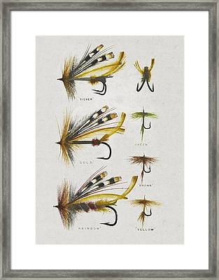Fly Fishing Flies Framed Print by Aged Pixel