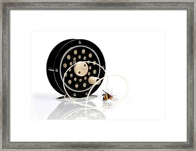 Fly Fishing Reel With Fly Framed Print by Tom Mc Nemar