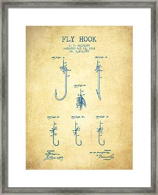 Fly Hook Patent From 1923 - Vintage Paper Framed Print by Aged Pixel