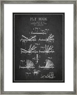 Fly Hook Patent From 1924 - Charcoal Framed Print by Aged Pixel