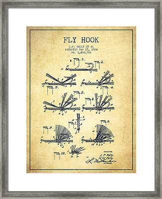 Fly Hook Patent From 1924 - Vintage Framed Print by Aged Pixel