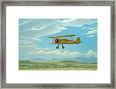 Fly-in At Three Forks - Stearman   Framed Print by Paul Krapf