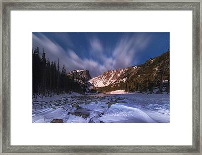 Flying Clouds Over Dream Lake Framed Print by Darren  White