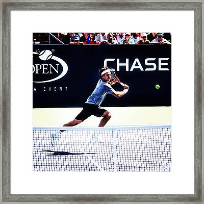 Flying Federer  Framed Print by Nishanth Gopinathan
