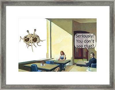 Flying Meatball Monster Framed Print by Leonard Rosenfield