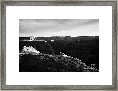 Flying Over Land Approaches To The Rim Of The Grand Canyon At Eagles Point In Hualapai Indian Reserv Framed Print by Joe Fox