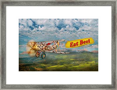 Flying Pigs - Plane - Eat Beef Framed Print by Mike Savad