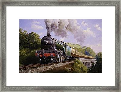 Flying Scotsman On Broadsands Viaduct. Framed Print by Mike  Jeffries