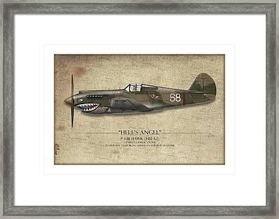 Flying Tiger P-40 Warhawk - Map Background Framed Print by Craig Tinder