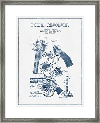 Foehl Revolver Patent Drawing From 1894 -  Blue Ink Framed Print by Aged Pixel