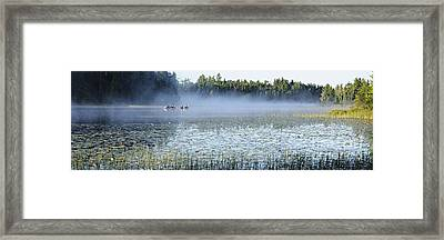 Fog At Lake One Framed Print by Larry Ricker