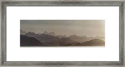 Fog Over Mountain In Glacier Bay Framed Print by Panoramic Images