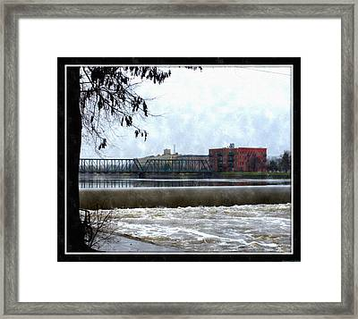 Fog Over Sixth Street Bridge From Fish Ladder Park And Dam Over The Grand River Framed Print by Rosemarie E Seppala